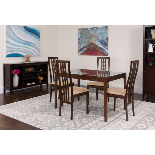 Our Highland 5 Piece Espresso Wood Dining Table Set with Glass Top and High Triple Window Pane Back Wood Dining Chairs - Padded Seats is on sale now.