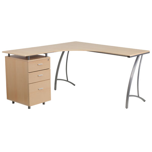 Our Beech Laminate L-Shape Desk with Three Drawer Pedestal is on sale now.