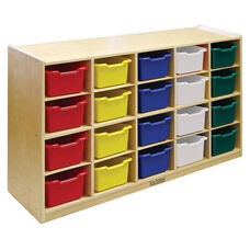 Birch 20 Cubby Tray Cabinet with 20 Assorted Colors Bins - 48