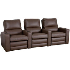 Manor Three Seater Home Theater - Straight Arm in Top Grain Leather