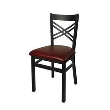 Akrin Metal Cross Back Chair - Burgundy Vinyl Seat