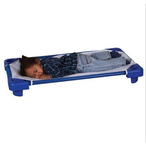 Our Blue Ready to Assemble Toddler Stackable Kiddie Cots with Sheets - 40