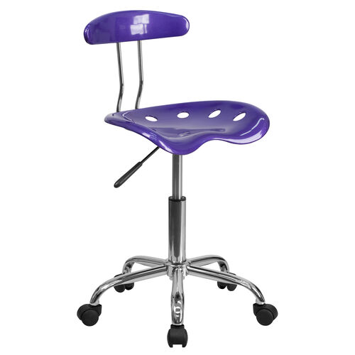 Our Vibrant Violet and Chrome Swivel Task Office Chair with Tractor Seat is on sale now.