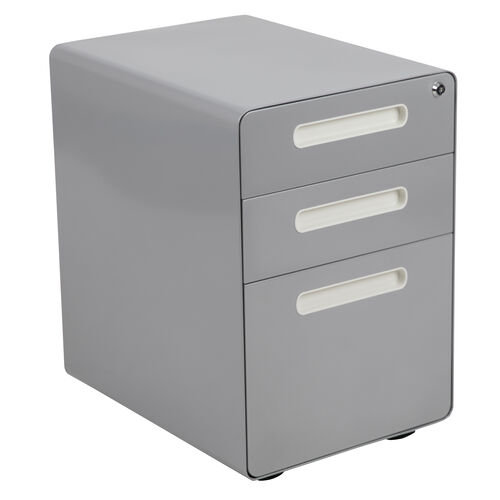 Our Ergonomic 3-Drawer Mobile Locking Filing Cabinet with Anti-Tilt Mechanism and Hanging Drawer for Legal & Letter Files, Gray is on sale now.
