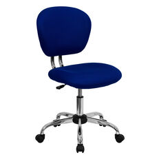 Mid-Back Blue Mesh Padded Swivel Task Office Chair with Chrome Base
