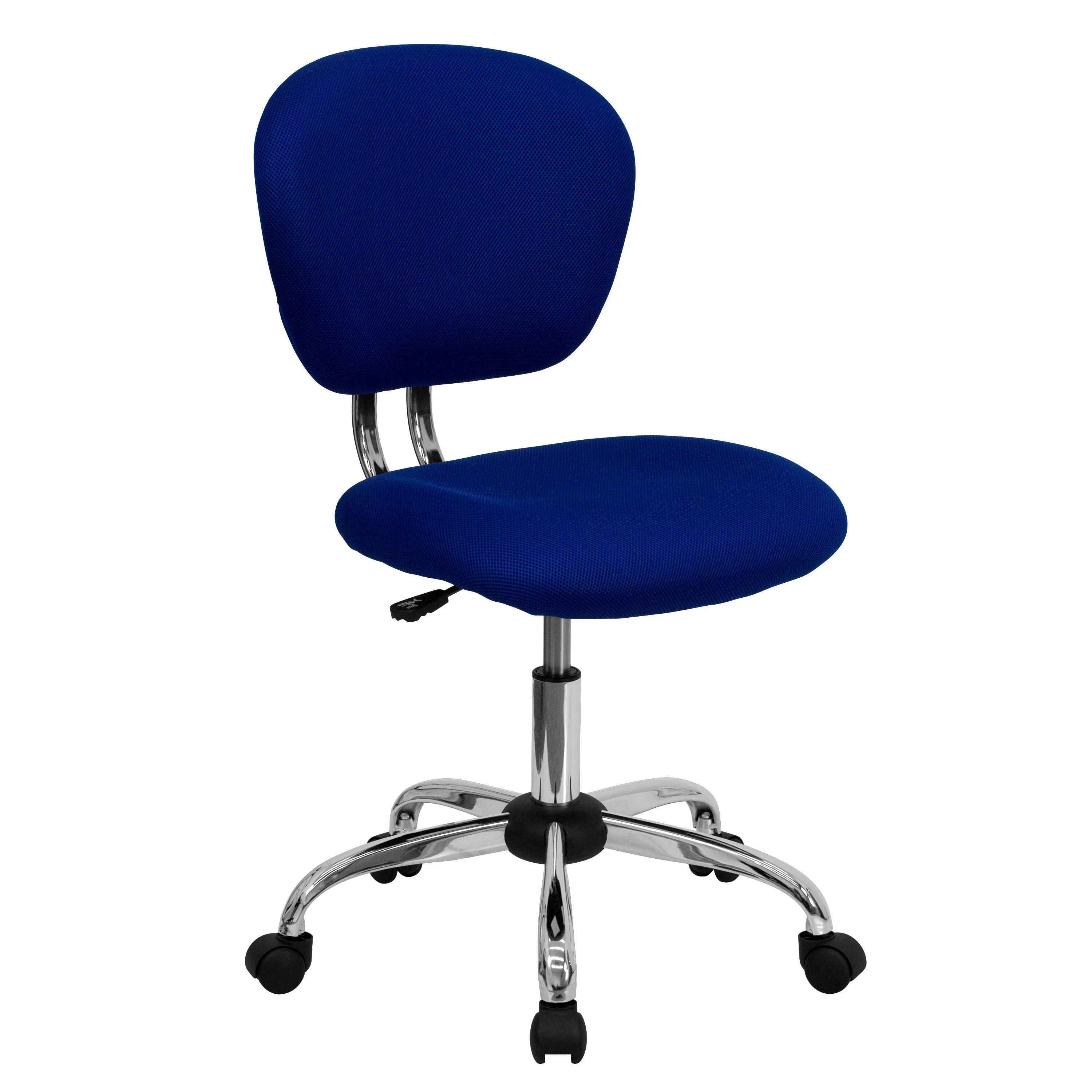 Mid Back Blue Mesh Padded Swivel Task Chair With Chrome Base