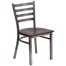 Clear Coated Ladder Back Metal Restaurant Chair with Walnut Wood Seat