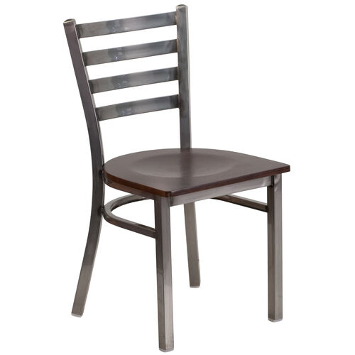 Our Clear Coated Ladder Back Metal Restaurant Chair with Walnut Wood Seat is on sale now.