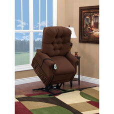 Two Way Petite Reclining Power Lift Chair with Matching Arm and Headrest Covers - Aaron Cocoa Fabric