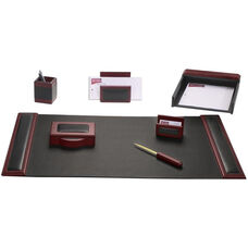 Wood and Leather 7 Piece Desk Set - Rosewood and Black