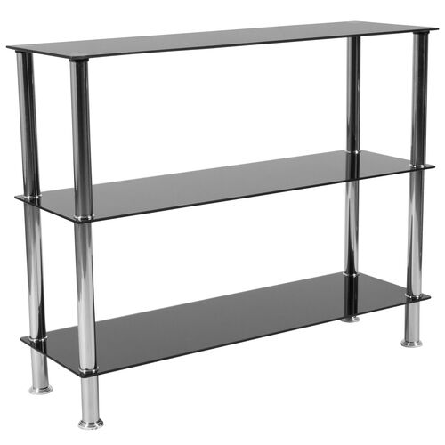 "Our Riverside Collection 3 Shelf 31.5""H Glass Storage Display Unit Bookcase with Stainless Steel Frame in Black is on sale now."