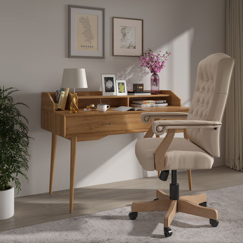 Ivory Microfiber Classic Executive Swivel Office Chair with Driftwood Arms and Base