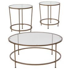 Astoria Collection 3 Piece Coffee and End Table Set with Glass Tops and Matte Gold Frames