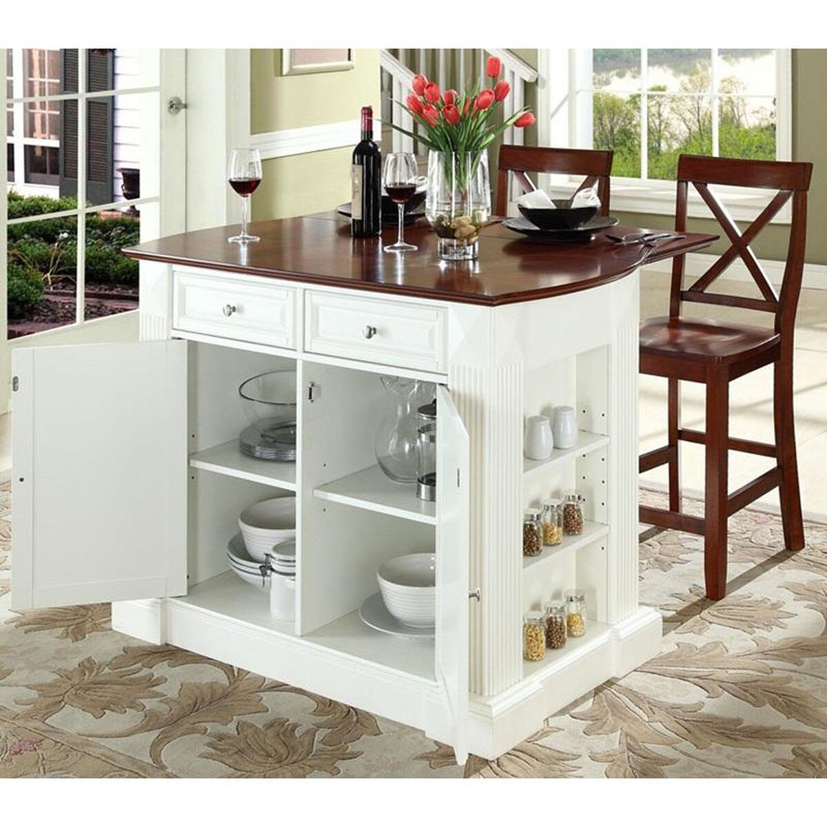 Our drop leaf breakfast bar top kitchen island with 24 black x back