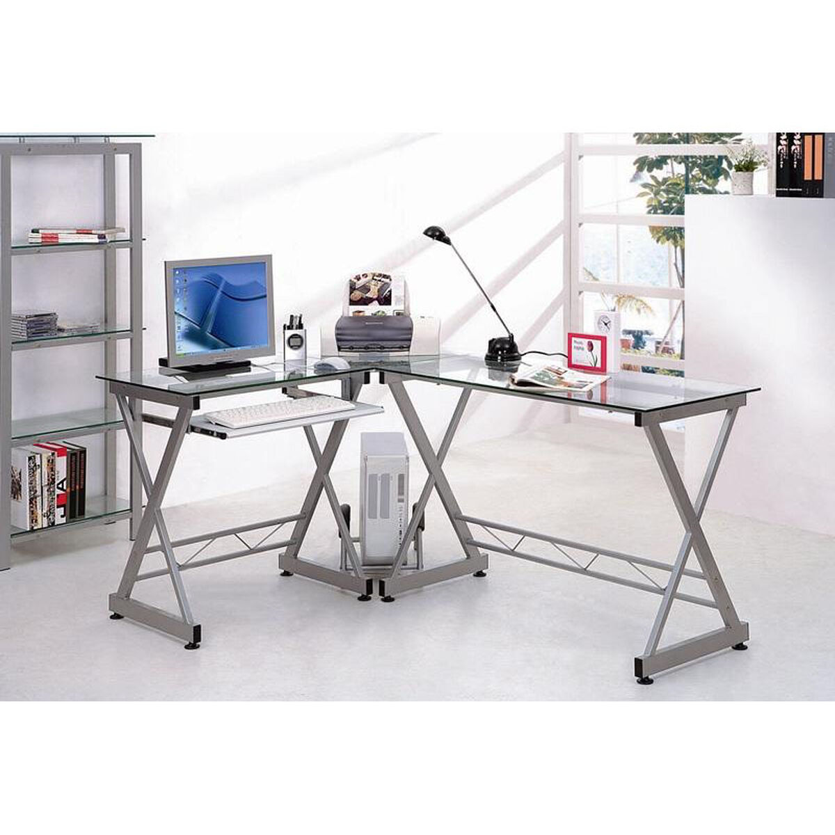 Images. Techni Mobili L-shaped Clear Glass Computer Desk