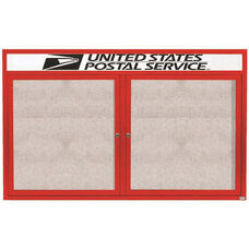 2 Door Outdoor Illuminated Enclosed Bulletin Board with Header and Red Powder Coated Aluminum Frame - 48