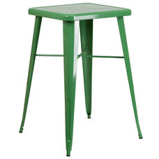 "Commercial Grade 23.75"" Square Green Metal Indoor-Outdoor Bar Height Table"