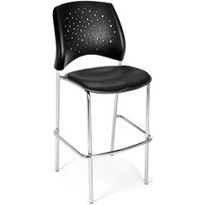 Stars Cafe Height Vinyl Seat Chair with Chrome Frame - Black