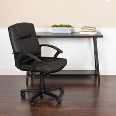 Basics Mid-Back LeatherSoft-Padded Task Office Chair with Arms, Black, BIFMA Certified