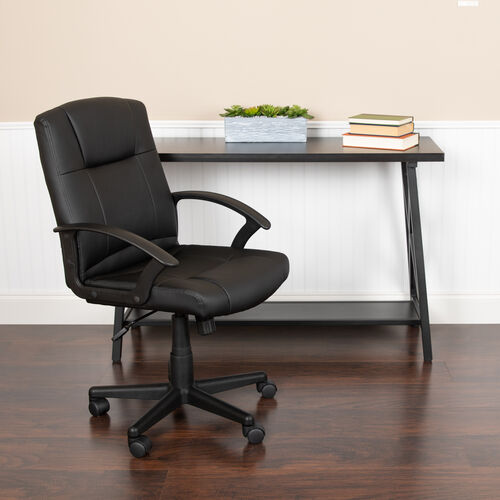 Mid-Back Black LeatherSoft-Padded Task Office Chair with Arms, BIFMA Certified
