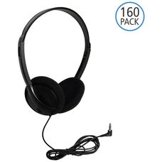Black On-Ear Personal Economical Headphones with Foam Ear Cushions and Background Noise Reducing Capabilities - Set of 160 Headphones