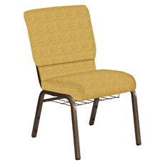 Embroidered 18.5''W Church Chair in Lancaster Khaki Fabric with Book Rack - Gold Vein Frame