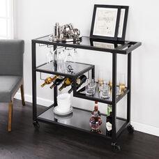 Zephs Bar Cart - Black with Smoked Mirror