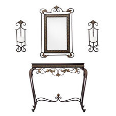 Capshaw Aged Bronze Patina Finish Metal 4 Piece Sconce and Wall Mirror Set Including Console Table