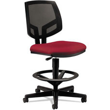 HON® Volt Series Black Mesh Back Adjustable Task Stool with Crimson Fabric Seat and Footring