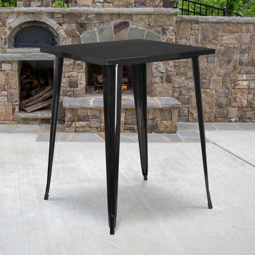 """Commercial Grade 31.5"""" Square Metal Indoor-Outdoor Bar Height Table"""