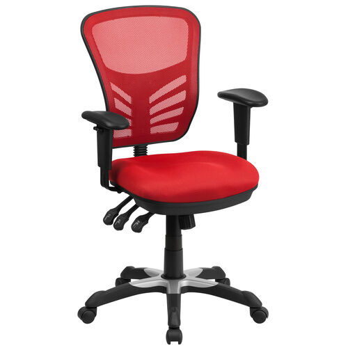 Our Mid-Back Red Mesh Multifunction Executive Swivel Ergonomic Office Chair with Adjustable Arms is on sale now.