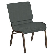 Embroidered 21''W Church Chair in Canterbury Pewter Fabric - Gold Vein Frame