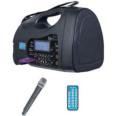 Black Portable Wireless PA System with Hand Held Microphone and Built-In Rechargeable Batteries - 6.9
