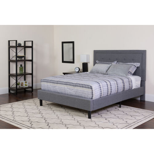 Our Roxbury King Size Tufted Upholstered Platform Bed in Light Gray Fabric with Memory Foam Mattress is on sale now.