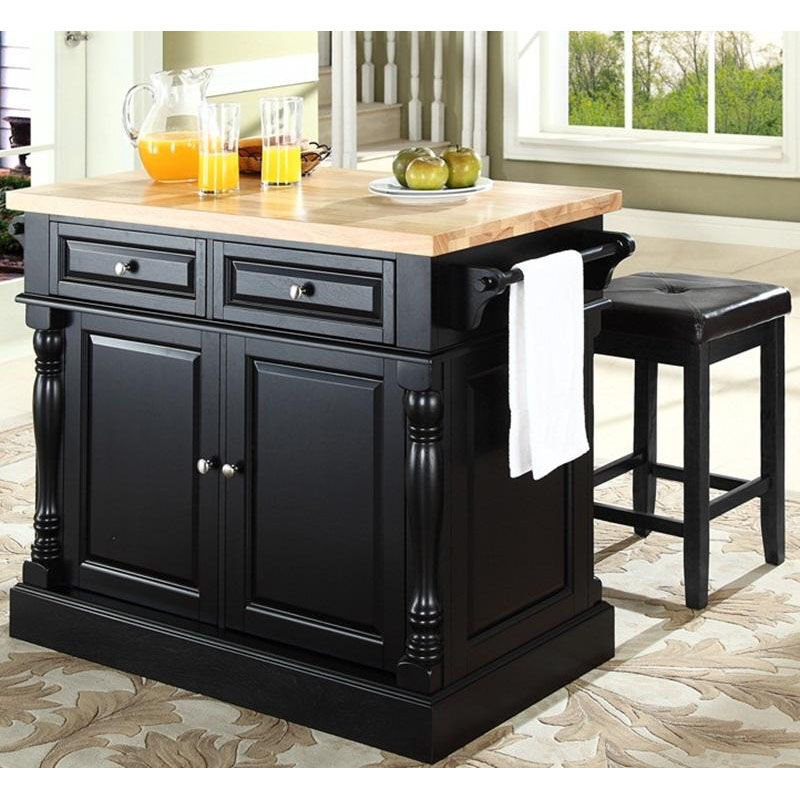 ... Our Butcher Block Top Kitchen Island With 24u0027u0027 Black Upholstered Square  Seat Stools