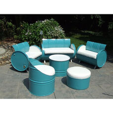 Del Ray Steel Drum 6 Piece Conversation Set with White Accents