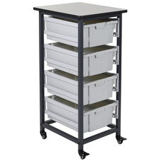Mobile Single Row Storage Unit with 4 Large Gray Bins - Black - 17