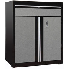 30'' W x 18'' D x 36'' H Modular Storage System Base Cabinet with Drawer - M9 Black and Multi Granite