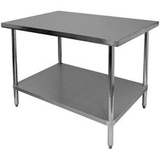 430 Stainless Steel Flat Top Worktable with Under Shelf - 30