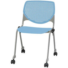 2300 KOOL Series Stacking Poly Silver Steel Frame Armless Chair with Perforated Back and Casters - Sky Blue