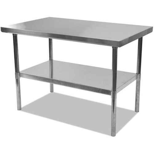 Our Alera® Rectangular Stainless Steel Table with Storage Shelf - 60