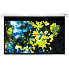 White Wall Mountable Electric Projection Screen with Matte White Fabric Screen and White Powder-Coated Aluminum Housing - 85
