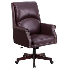 High Back Pillow Back Burgundy Leather Executive Swivel Office Chair with Arms