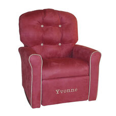 Kids Personalized 4 Button Microsuede Rocking Recliner with Oyster Trim - Dusty Rose