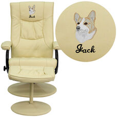 Embroidered Contemporary Multi-Position Recliner and Ottoman with Wrapped Base in Cream Leather