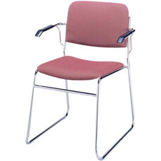 300 Series Stacking Chrome Steel Frame Guest Armchair with Sled Base and 2