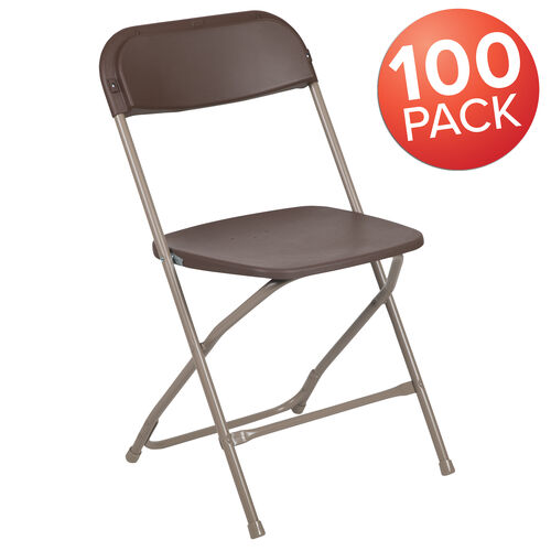 Our HERCULES Series 100 Pack 650 lb. Capacity Premium Brown Plastic Folding Chair is on sale now.