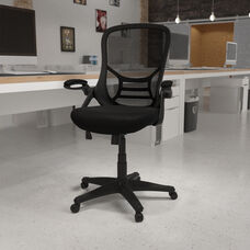 High Back Black Mesh Ergonomic Swivel Office Chair with Black Frame and Flip-up Arms