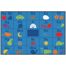 Kids Value Alphabet Seating Rectangular Nylon Rug - 96