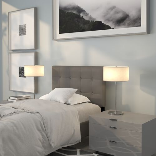 Lennox Tufted Upholstered Twin Size Headboard in Gray Vinyl